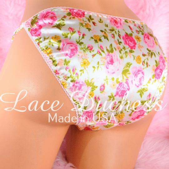 Lace Duchess Classic 80's cut satin Floral Roses print pink panties sz 5 6 7