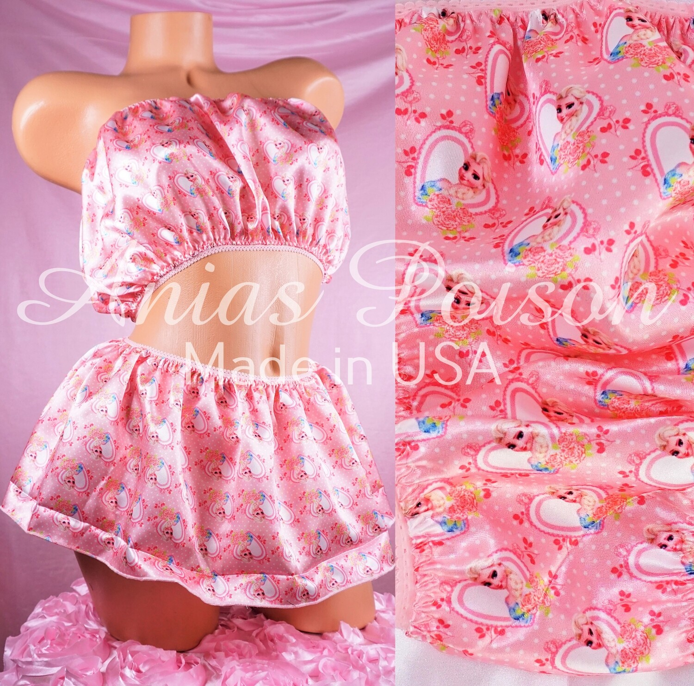 Valentine's Day Shiny Satin string bikini mens panties - Skirt bra tube top - Frozen Ice Princess in Pink