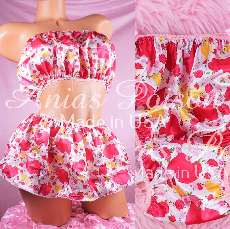 Valentine's Day Shiny Satin string bikini mens panties - Skirt bra tube top - Sleeping Princess in Pink
