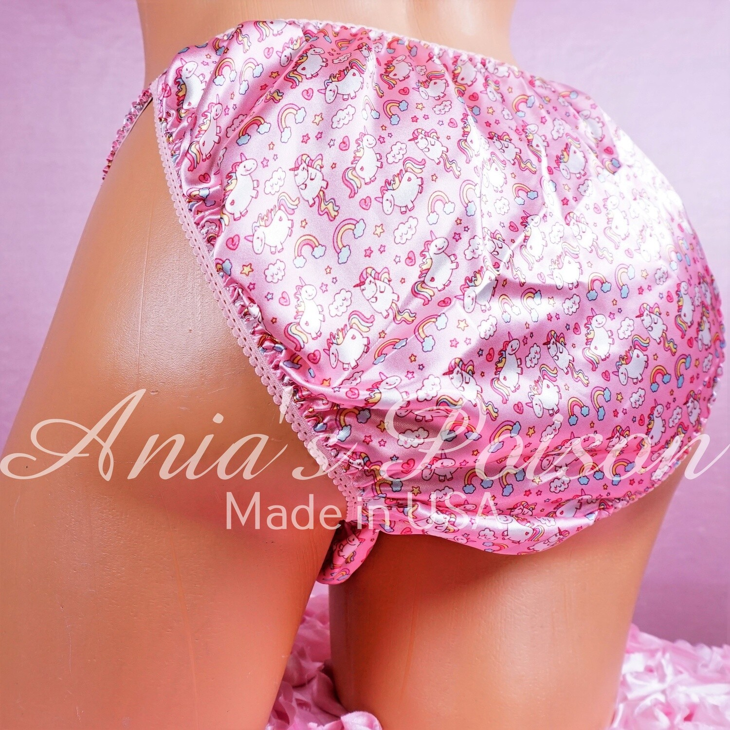 Valentine's Day Shiny Satin string bikini mens panties - Stunning Pink micro Unicorn print - Super Limited