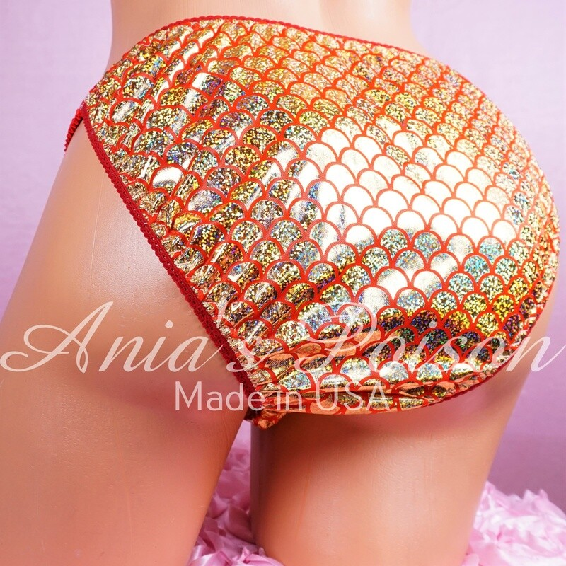 Lace Duchess Classic 80's Gold Red FOIL Metallic Shiny satin panties - String bikini- new mens and womens cuts! Matching Couples
