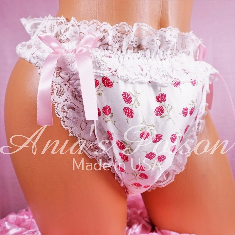 Sissy Double Padded Puffy BABY Waddle satin panties Raspberry print floral