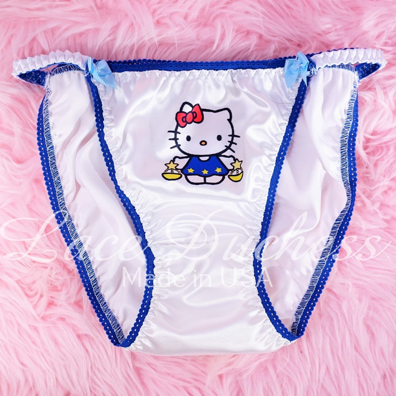 Lace Duchess Classic 80's cut Hello Kitty Zodiac Signs Character movie print satin wet look panties sz 5 6 7 8