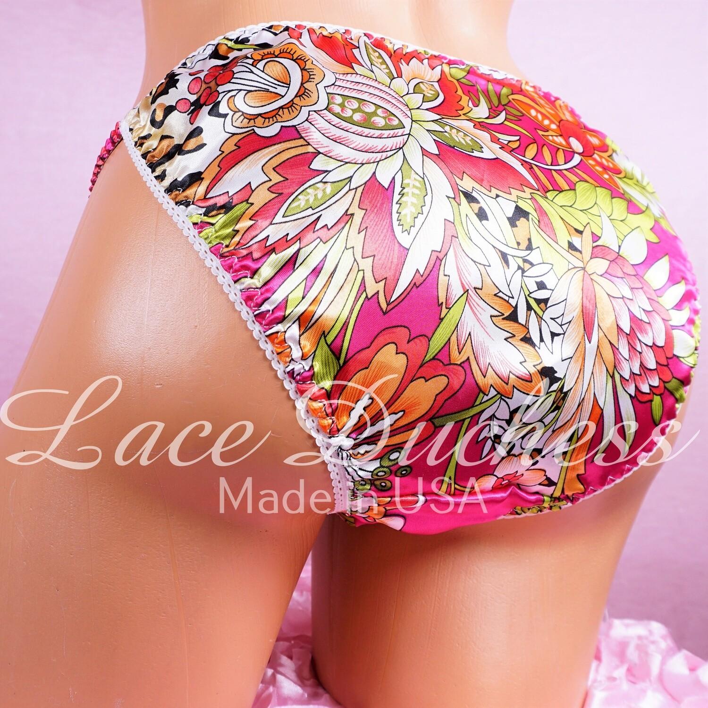Lace Duchess Classic 80's cut Floral Animal Leopard print sissy satin panties - String bikini- new mens cut!