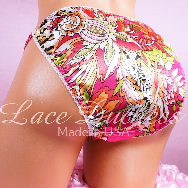 MENS Lace Duchess Classic 80's cut Floral Animal Leopard print sissy satin panties - String bikini- new mens cut!
