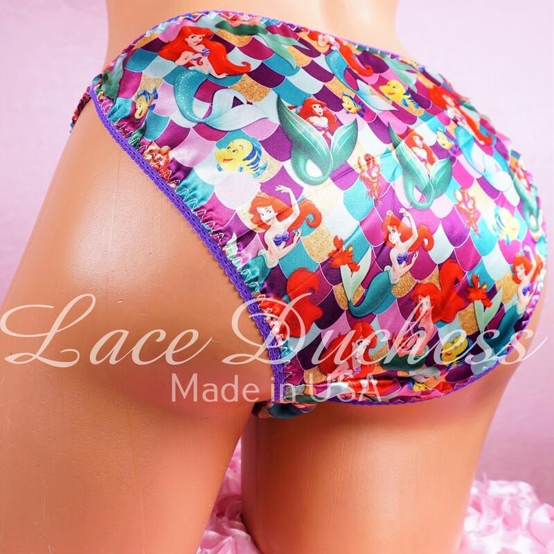 Lace Duchess Classic 80's cut satin sissy Mermaid Princess purple ladies string bikini panties sz 5 6 7 8