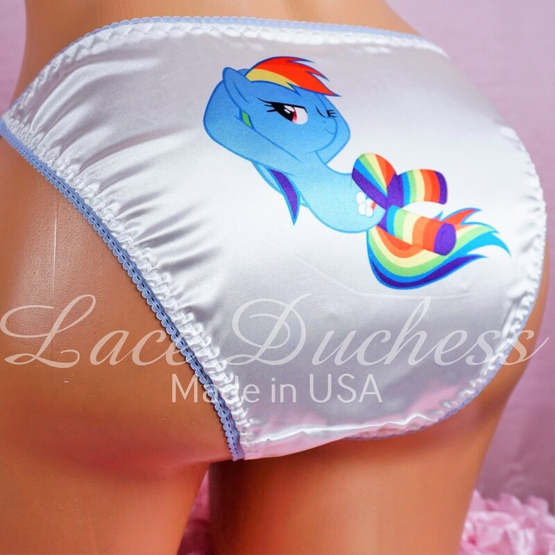 Lace Duchess Classic 80's cut Little Rainbow Pony Character movie print sissy satin wet look ladies or Mens panties sz 5 6 7 8