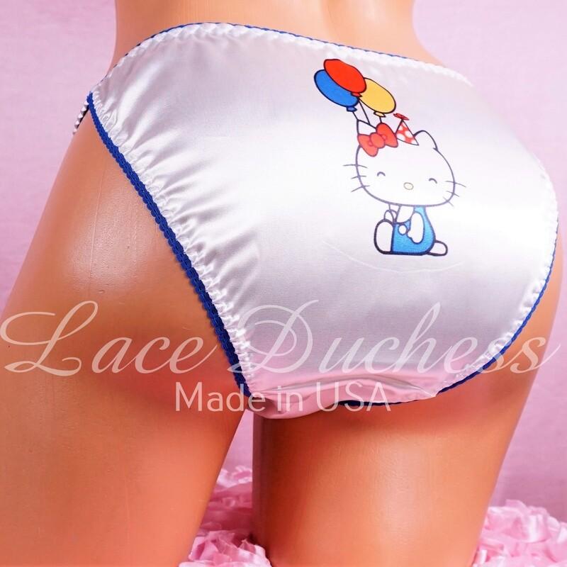 Lace Duchess Classic 80's cut Hello Kitty Kawaii Birthday Character movie print sissy satin wet look ladies panties sz 5 6 7 8