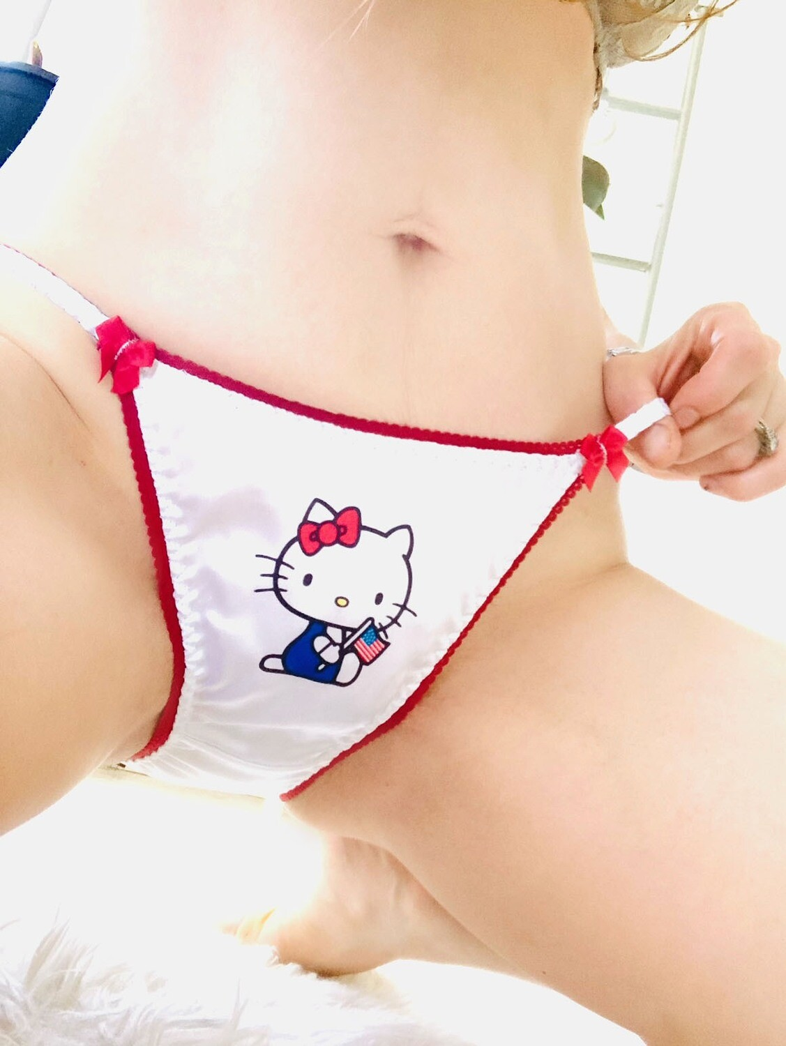 Lace Duchess Classic 80's cut Hello Kitty 4th of July Patriotic USA Character movie print sissy satin wet look ladies panties sz 5 6 7 8
