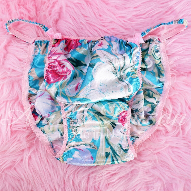 Ania's Poison MANties S - XXL Turquoise Floral pastel Spring Print Rare 100% polyester string bikini sissy mens underwear panties