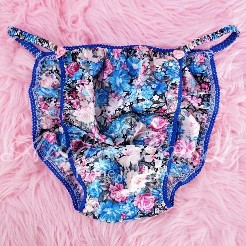 Ania's Poison MANties S - XXL Blue Floral pastel Spring Print Rare 100% polyester string bikini sissy mens underwear panties