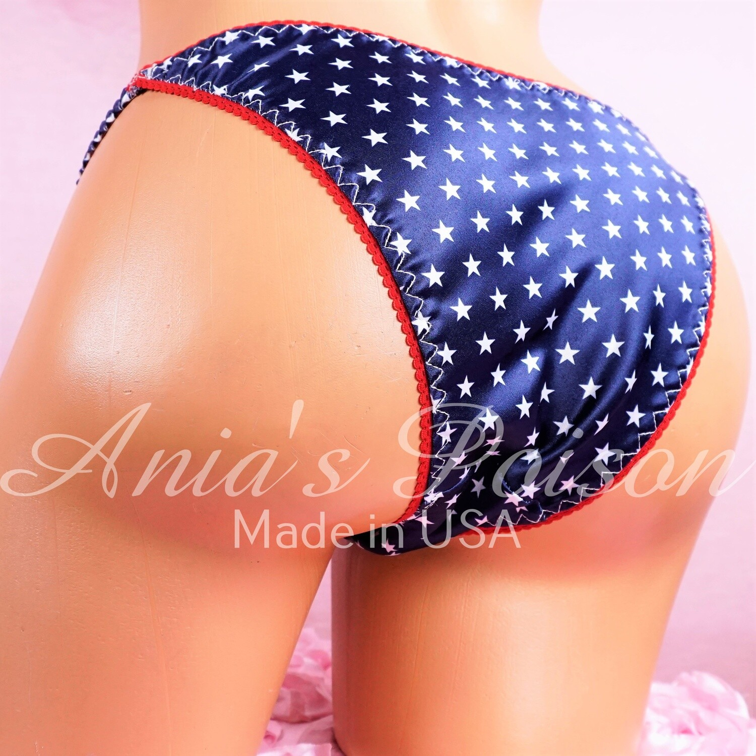 Ania's July 4th Stars Red White & Blue Satin RARE sissy ladies cheeky cut Brazilian panties S/M and L/XL