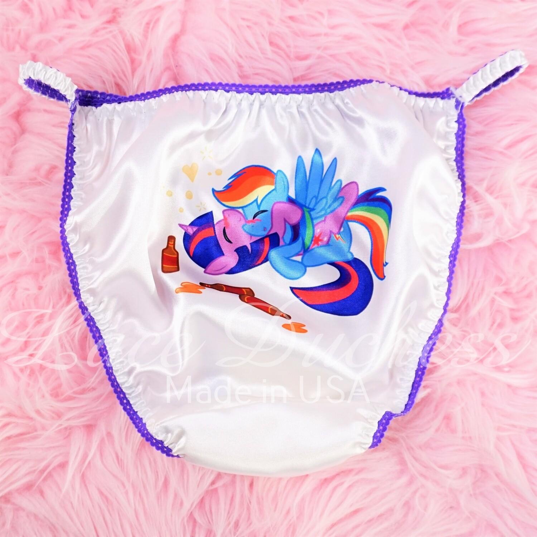 Lace Duchess Classic 80's cut Naughty Little Ponies Character movie print sissy satin wet look ladies or Mens panties sz 5 6 7 8