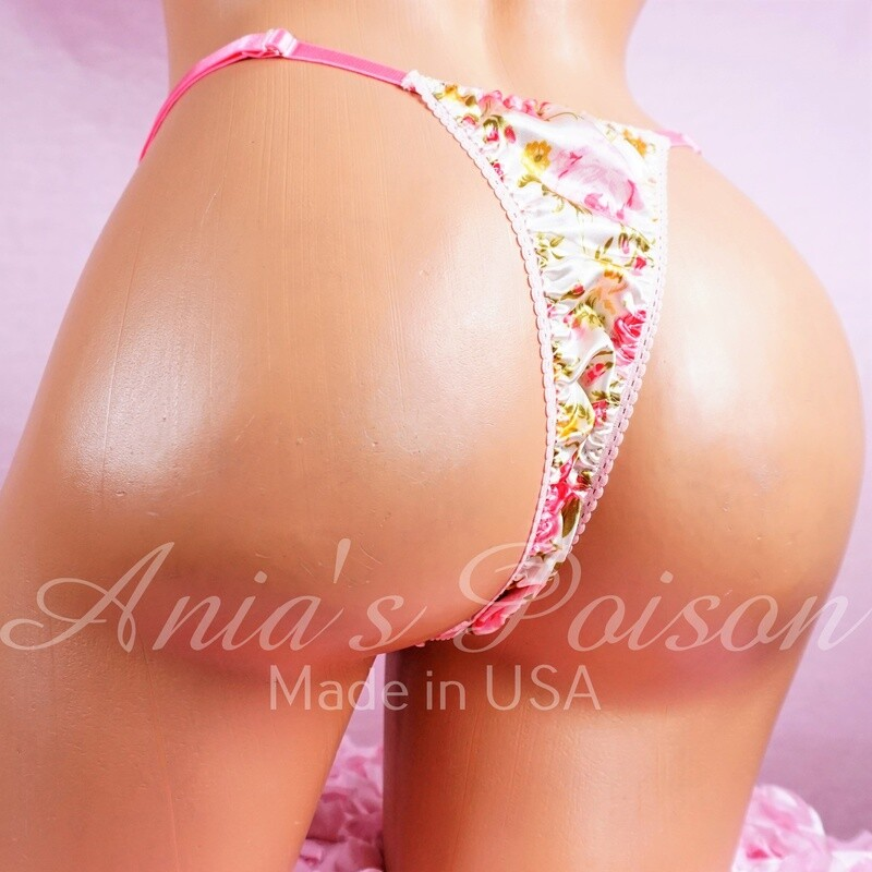 sissy men's soft shiny Pink Rose Garden Floral Triangle T thong panties ADJUSTABLE sides underwear panties