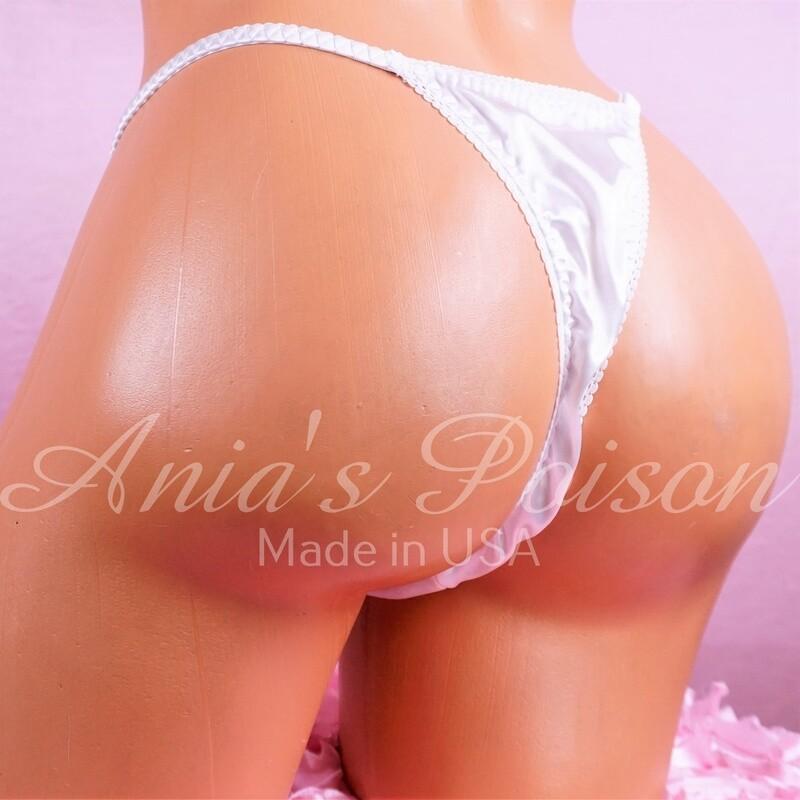 Sissy panties Liquid Satin Shiny panties stretch White bridal triangle T thong underwear OS