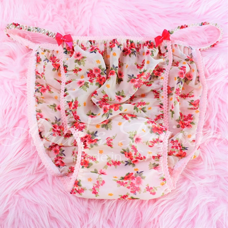 Sheer CHIFFON Rose Garden floral novelty print sheer sissy mens string bikini panties M-XL