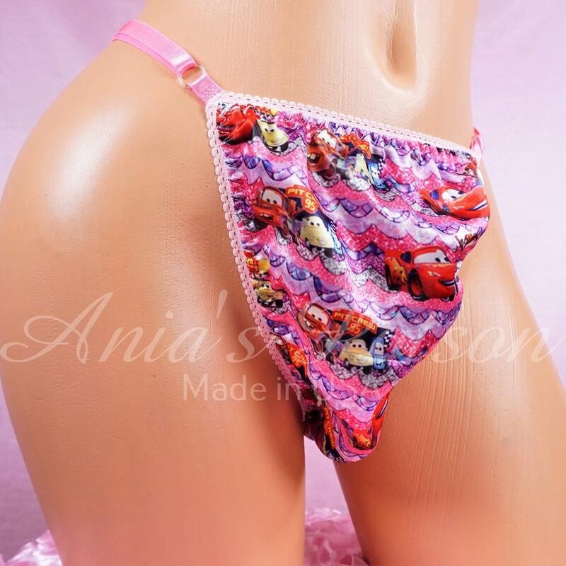 sissy men's soft shiny Pink cartoon Cars Triangle T thong panties ADJUSTABLE sides underwear panties