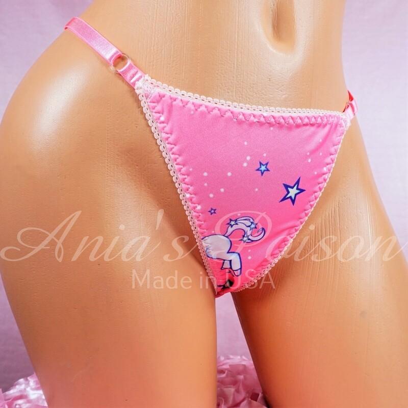 ADJUSTABLE Spandex thong Pink Unicorn magical sissy Ladies Triangle T thong panties adjustable sides