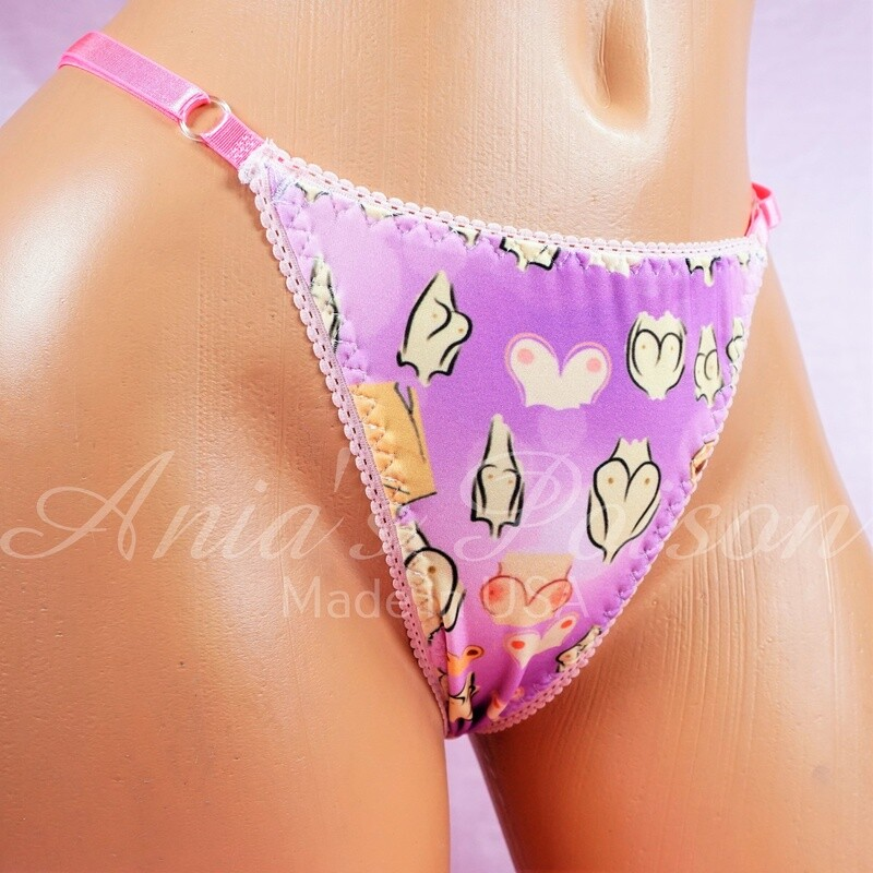 ADJUSTABLE Spandex thong Purple Boobs Body Positivity sissy Ladies Triangle T thong panties adjustable sides