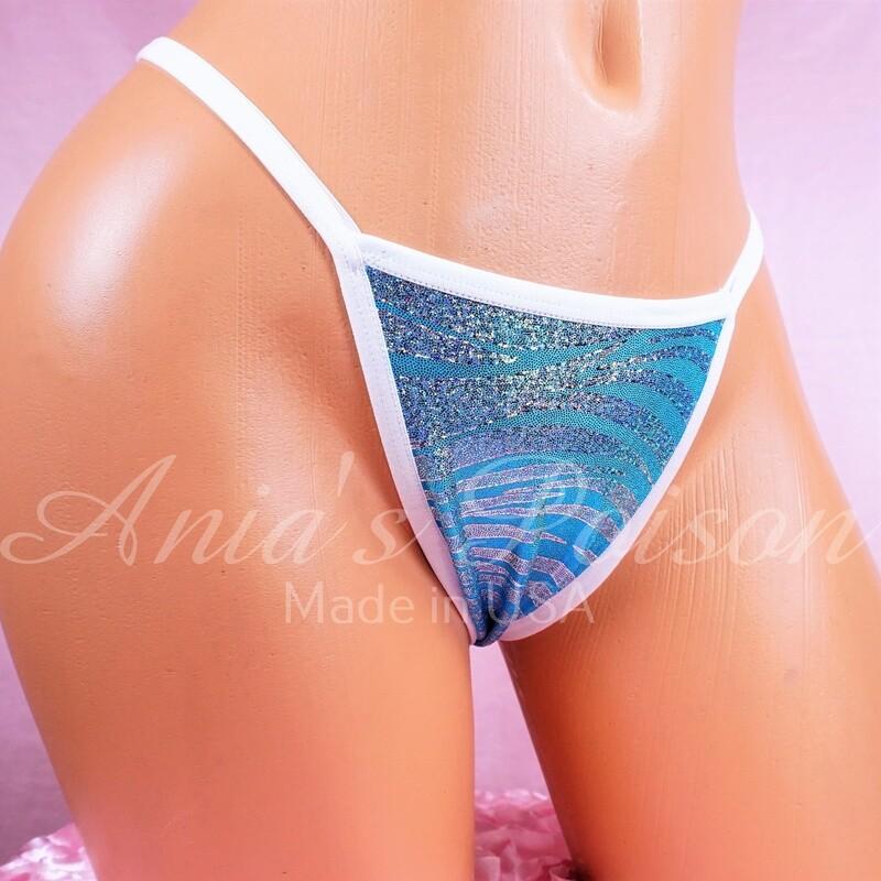 Anias Poison sexy V Back stripper dancer micro thongs metallic Foil Blue zebra print