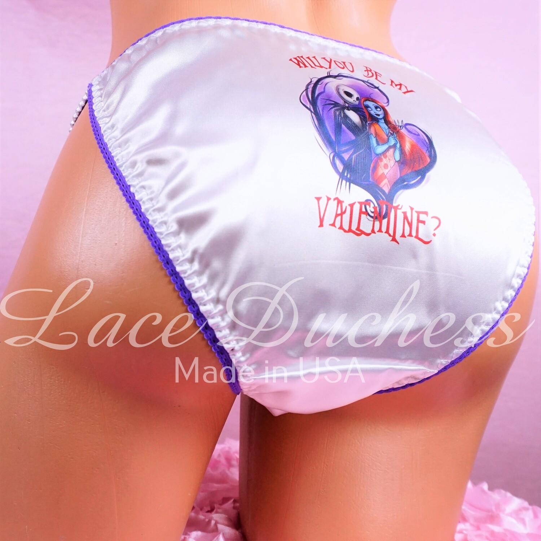 Lace Duchess Classic 80's cut Jack & Sally In Love Nightmare Character Halloween movie print sissy satin wet look ladies or Mens panties sz 5 6 7 8
