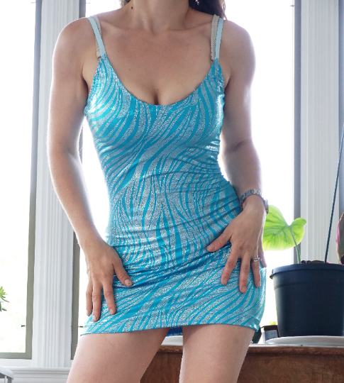 Super Stretchy UNISEX BodyCon Zebra Blue Barbi costume Tight Slinky mini dress with adjustable straps S/M or L / XL