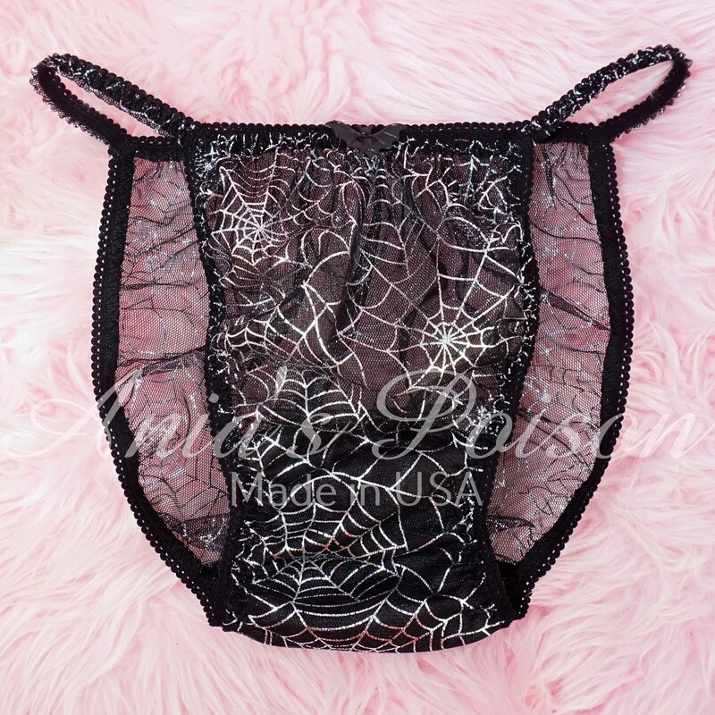 All Lace Metallic Silver Spider Webs sheer mens Sissy panties HALLOWEEN COLLECTION! S- XXL