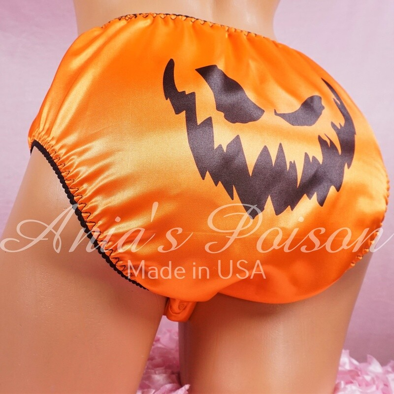 Ania's Poison jack-o-lantern carved pumpkin face Halloween 100% polyester SATIN FULL bikini sissy mens underwear panties