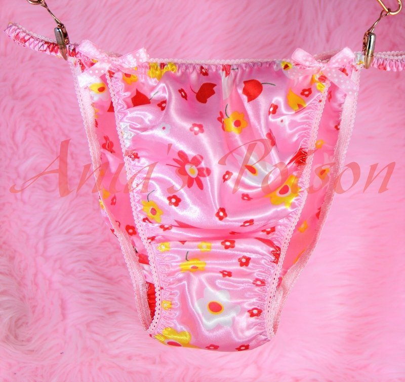 Ania's Poison MANties S - XXL Pink Girly ladies Prints floral Tulip 100% polyester string bikini sissy mens underwear panties
