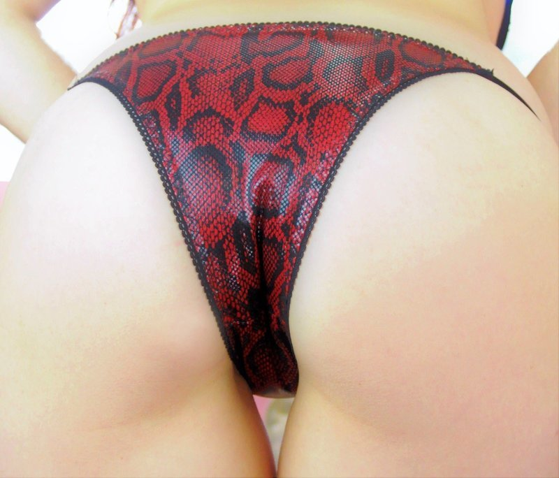 Ania's Cheeky Snake Skin naughty Brazilian Exotic dancer stripper panties with adjustable sides!