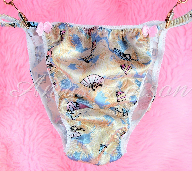 Sissy Satin Silky Panties French Marie Antoinette Novelty print rare shiny string bikini