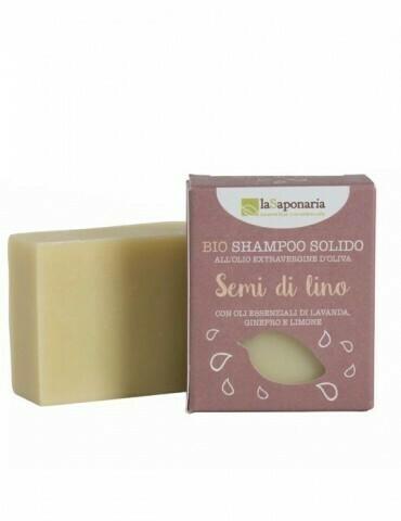 Shampoo solido ai semi di lino La Saponaria