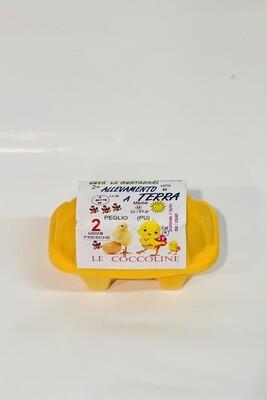 """LE COCCOLINE 2 uova da allevamento a terra """"La Montanari"""""""