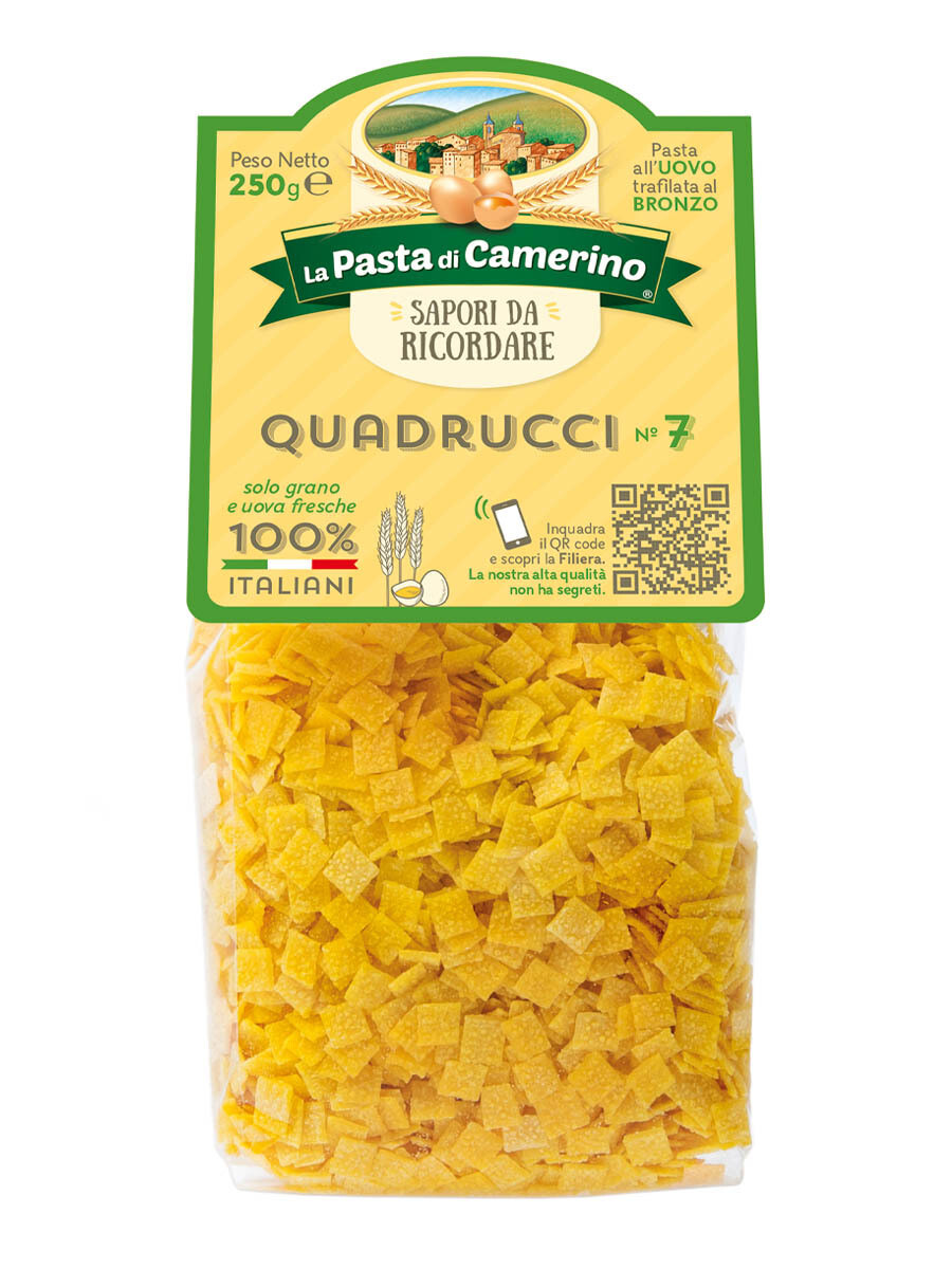 """Quadrucci n.7 all'uovo """"La Pasta di Camerino"""" 250gr"""