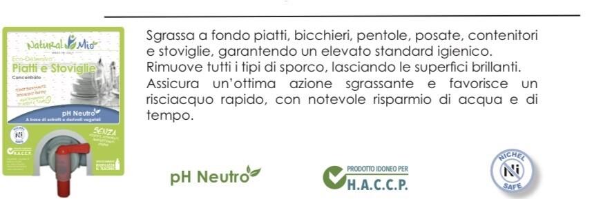 """Eco Detersivo PIATTI E STOVIGLIE A MANO concentrato """"NaturalMio"""""""