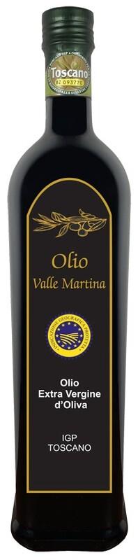 Bottiglia 0,75 LT. Olio Extravergine IGP Toscano Certificato Valle Martina