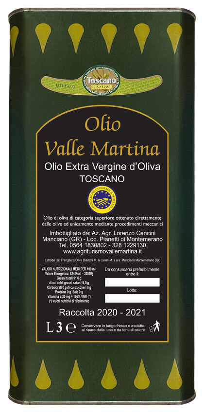Lattina 3 LT. Olio Extravergine IGP Toscano Certificato Valle Martina