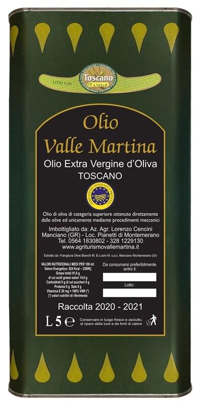 Lattina 5 LT. Olio Extravergine IGP Toscano Certificato Valle Martina
