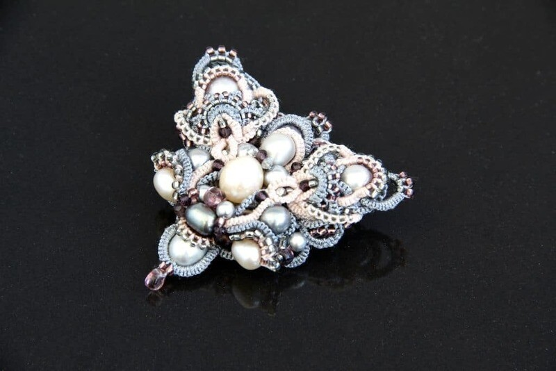 Designer lace brooch with pearls