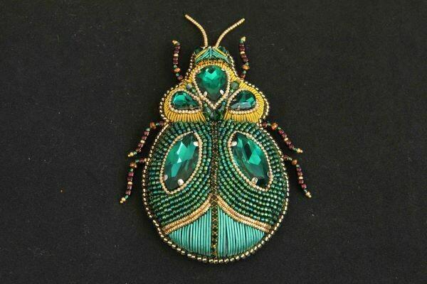 """Handmade brooch """"Emerald"""""""