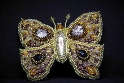 """Brooch with crystals """"Golden Butterfly"""""""