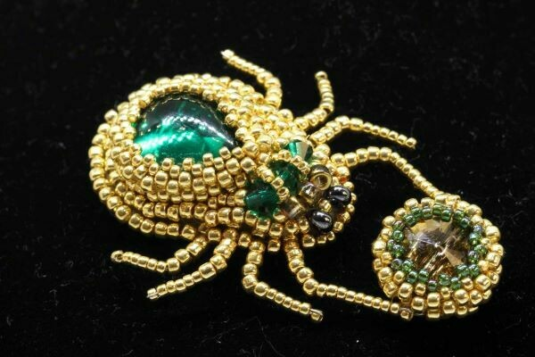 """Brooch with crystals """"Scarab's wife"""""""