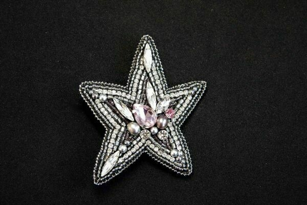 """Brooch with crystals """"Star"""""""