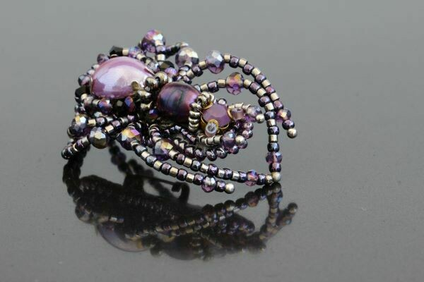"Brooch with crystals ""Violet Spider"""