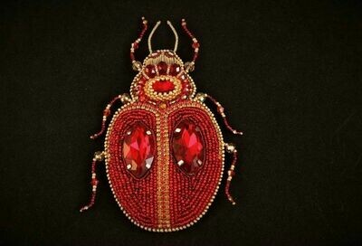 """Brooch with crystals """"Ruby beetle"""""""