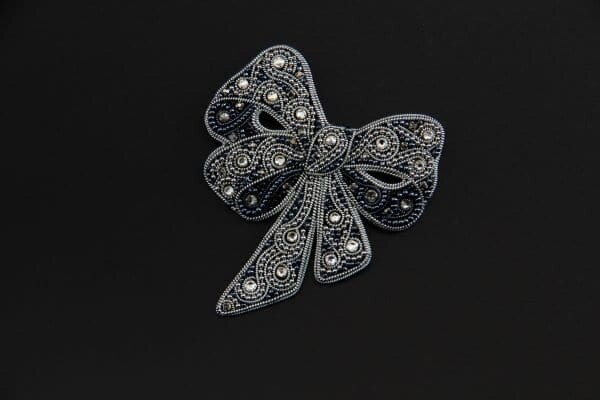 "Brooch with Swarovski crystals ""Silver bow"""