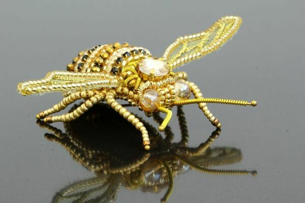 "Brooch with a crystal ""Golden Bee"""