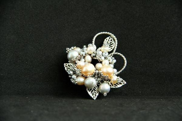 """Brooch with natural pearls """"Symphony"""""""
