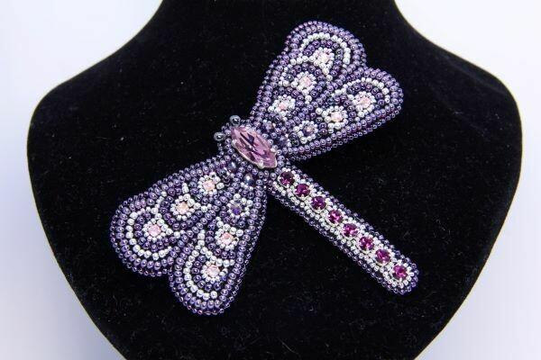 """Brooch """"Violet dragonfly"""""""