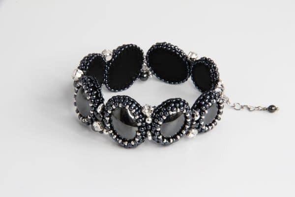 """Bracelet made of natural hematite """"Black boat"""""""